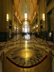 The Fisher Building's three-story lobby features this