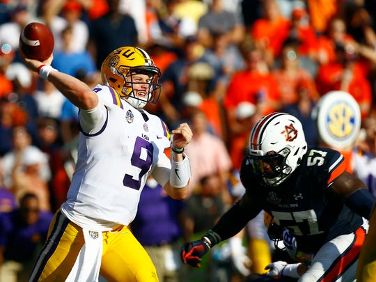 LSU quarterback Joe Burrow (9) throws a pass during the second half of an NCAA college football game against Auburn, Saturday, Sept. 15, 2018, in Auburn, Ala. (AP Photo/Butch Dill)