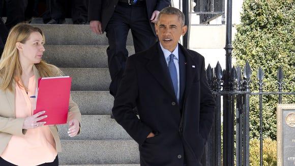 President Obama departs Blair House to walk back to
