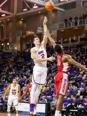 UNI's Klint Carlson puts up a floater during the Panthers'