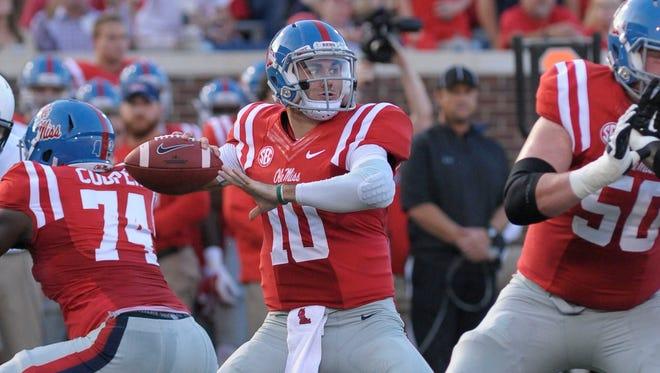 Ole Miss quarterback Chad Kelly (10) during the game against Vanderbilt on Sept. 26, 2015.