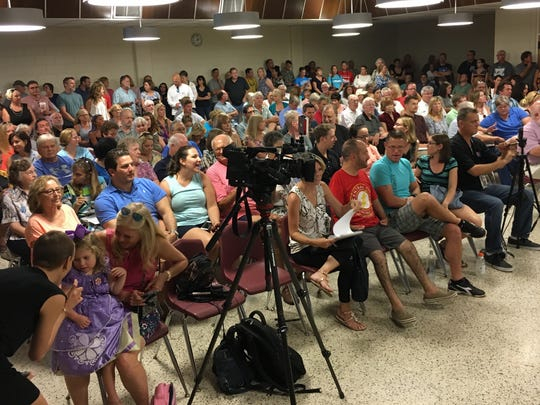 A large crowd showed up at the Scotty Culp Satellite Beach Civic Center to listen and engage in a meeting about recent water testing at schools.