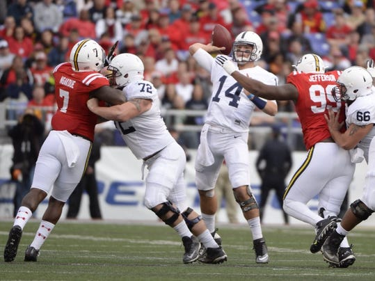Penn State QB Christian Hackenberg passes in the first half Saturday against Maryland.