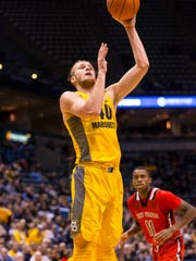 Dec 19, 2016; Milwaukee, WI, USA;  Marquette Golden Eagles center Luke Fischer (40) shoots during the first half against the St Francis Red Flash at BMO Harris Bradley Center. Mandatory Credit: Jeff Hanisch-USA TODAY Sports