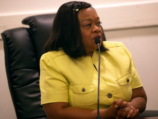 Sandra Harrison testifies during a human relations commission hearing June 22, 2018. Harrison was one of five black women who had the police called on them at Grandview Golf Course on April 21, 2017.