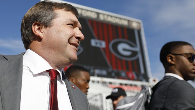 Georgia coach Kirby Smart at the Dawg walk before the start of a NCAA football game between Georgia and South Carolina in Athens, Ga., on Saturday, Oct. 12, 2019.