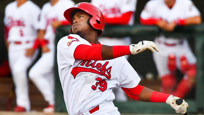 RON JOHNSON/JOURNAL STAR Peoria Chiefs third baseman Elehuris Montero smashes a home run, and was among six members of the first-place team to earn spots in the 54th Midwest League All-Star Game when rosters were announced Wednesday.