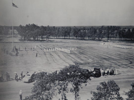 Cadets march on Whiting Field during the base's early years.
