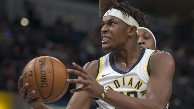 Myles Turner if Indiana goes to the hoop during first half action, New Orleans Pelicans at Indiana Pacers, Bankers Life Fieldhouse, Indianapolis, Tuesday, Nov. 7, 2017.