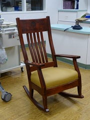 A donated Eleonore Rocks chair, made from Amish oak, will give new mothers at ProMedica Memorial Hospital a chance to bond with their babies and rock them to sleep.