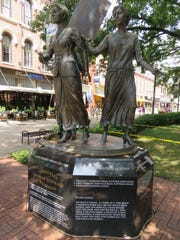 The Tennessee Woman Suffrage Memorial stands in the
