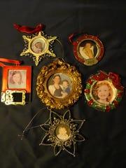 A collection of ornaments celebrating Hannah Grace and Savannah Faye Grainger