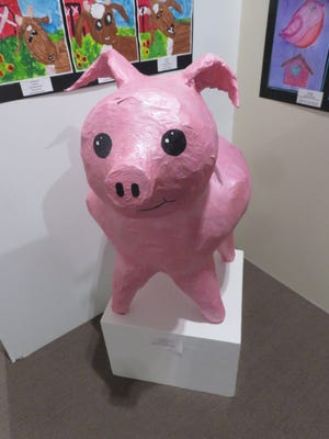 Students at Sherwood Elementary created this eye-catching pink pig