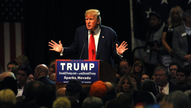 Republican presidential candidate Donald Trump speaks during a campaign rally at the Nugget Hotel and Casino in Sparks on Oct. 29, 2015.
