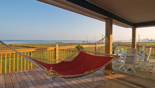 The Montalvo's favorite room is the peaceful patio/deck complete with a comfortable hammock and unobstructed views of North Beach, Corpus Christi Bay  and the city skyline