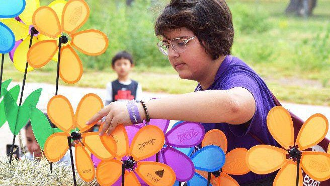 A girl picks up an orange flower, indicating her support for the Alzheimer?s Association, during the 2018 Walk to End Alzheimer?s at Lake Pueblo State Park.