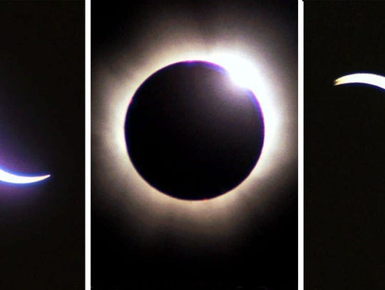 This picture combination shows the stages of the solar