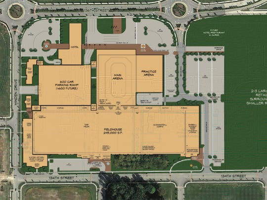 The recreational sports center would be built on 20 acres at I-69 Exit 210 in the Saxony development.