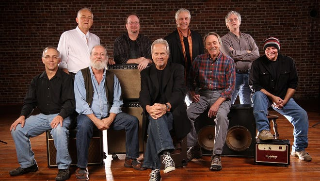 Ozark Mountain Daredevils (standing, from left): Bill Jones, Dave Painter, Ron Gremp and Kelly Brown; (seated, from left): Nick Sibley, Michael ÒSupeÓ Granda, John Dillon, Steve Cash and Ruell Chappell. Photo credit: Sesha Shannon-Smith