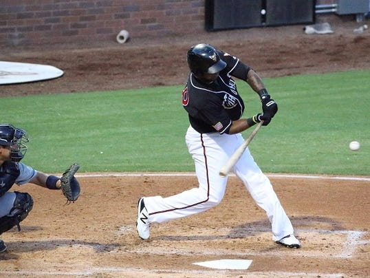 Rymer Liriano of the El Paso Chihuahuas swings at a pitch against the Tacoma Rainiers Tuesday night at Southwest University Park.