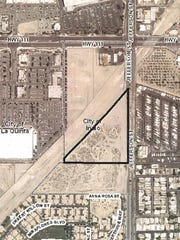 The location of a proposed hotel and commercial project on Jefferson Street in Indio.