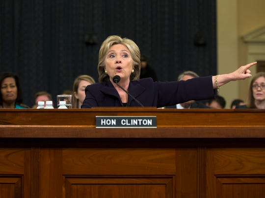 Hillary Clinton testifies on Capitol Hill on Oct. 22,