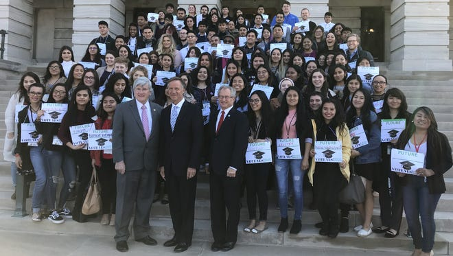 Students from throughout Tennesseans met with Gov. Bill Haslam, Tuesday, March 13, 2018, in support of a bill that would provide in-state tuition to undocumented immigrants.