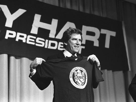 Democratic presidential hopeful Gary Hart holds up a T-shirt given him before addressing a crowd at Widener University in Chester in  1984. Hart was more popular with York County voters than eventual nominee Walter Mondale.