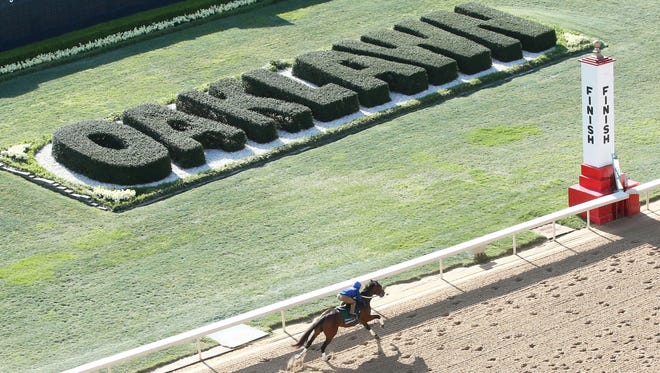 Combatant, trained by Steve Asmussen, works out at Oaklawn Park in preparation for the Arkansas Derby.