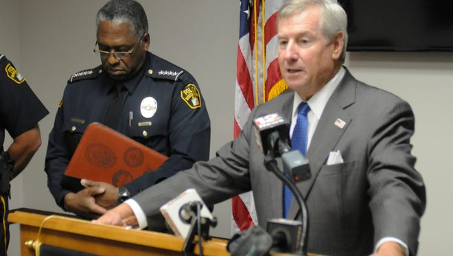 Montgomery Mayor Todd Strange speaks during a news conference on Wednesday, July 29, 2015. Montgomery police arrested officer Janice Braswell and put two ranking officers on mandatory administrative leave with pay Tuesday pending results of the investigation concerning a physical altercation that occurred just after midnight Sunday at the home of an MPD officer.