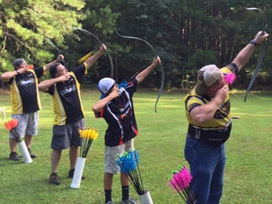 Aerial archery at a flying disk range is one of the