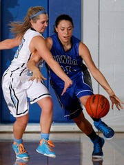 Ionia's Jaylynn Williams, right, drives against pressure