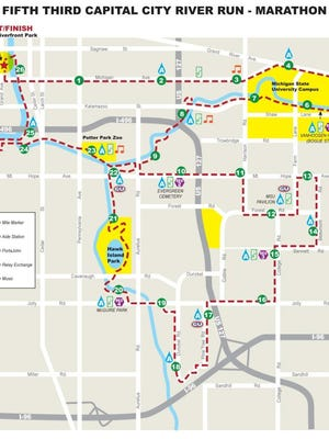 The full marathon course for the Capital City River Run in Lansing, East Lansing and through the Michigan State University campus Sunday.