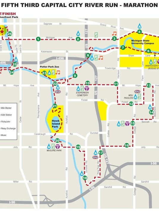 Course map, road closures for Capital City River Run