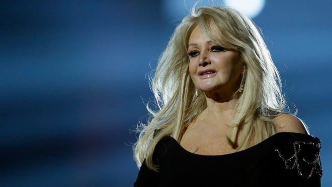 """In this May 17, 2013, file photo, Bonnie Tyler performs her song """"Believe in Me"""" during a rehearsal for the final of the Eurovision Song Contest at the Malmo Arena in Malmo, Sweden. Royal Caribbean announced on Aug. 16, 2017, that Tyler will perform her hit """"Total Eclipse of the Heart"""" at sea on the day of the total eclipse Monday during a """"Total Eclipse Cruise."""""""