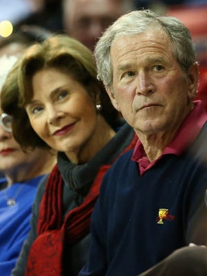 Former President George W. Bush and former first lady Laura Bush