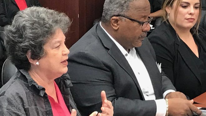 U.S. Rep. Lois Frankel, left, with West Palm Beach Mayor Keith James, and Jennifer Ferriol, director of Housing and Community Development, at Wednesday's roundtable discussion on housing and homelessness.