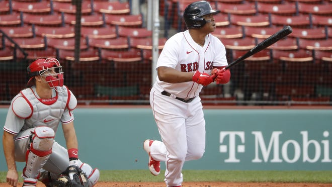 Rafael Devers reached 100 doubles with the Red Sox on Friday night.