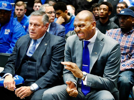 University of Memphis athletic director Tom Bowen, left, and new Memphis men's basketball coach Penny Hardaway attend a news conference introducing Hardaway, Tuesday, March 20, 2018, at the Laurie-Walton Family Basketball Center in Memphis, Tenn. Hardaway, who starred two seasons at Memphis in the early 1990s before a successful NBA career, replaces Tubby Smith, who was fired recently after two seasons as the Tigers coach. (Mark Weber/The Commercial Appeal via AP)