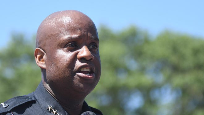 Wilmington Interim Police Chief Donny Williams speaks at the 1898 Memorial Park in Wilmington, N.C., Tuesday, June 3, 2020. A peace march led by Williams began at the Wilmington Police Department headquarters and concluded at the park.