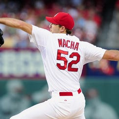 Jun 17, 2014; St. Louis, MO, USA; St. Louis Cardinals starting pitcher Michael Wacha (52) throws to a New York Mets batter during the first inning at Busch Stadium. Mandatory Credit: Jeff Curry-USA TODAY Sports