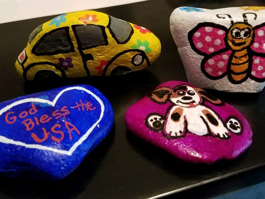 Local residents have joined the nationwide rock-painting