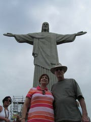 Pam and Frank Schumacher in front of the Christ the Redeemer statue in Rio De Janeiro, Brazil.