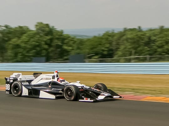 Alexander Rossi works his way through the Esses Monday afternoon during testing for IndyCars at Watkins Glen International.