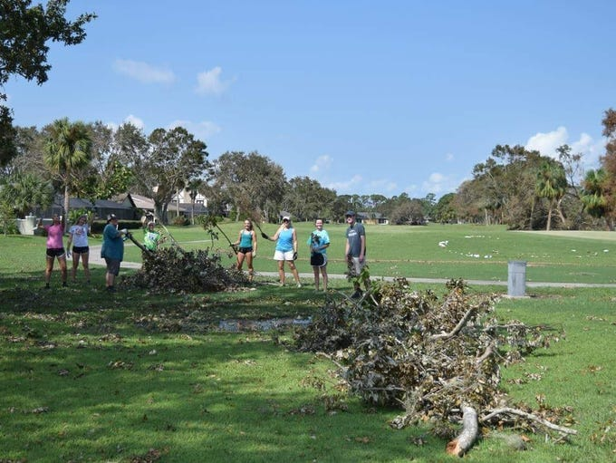 Rockledge athletes and club members helped clean up