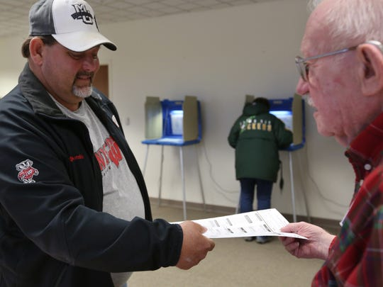An early voter at Manitowoc City Hall casts his ballot