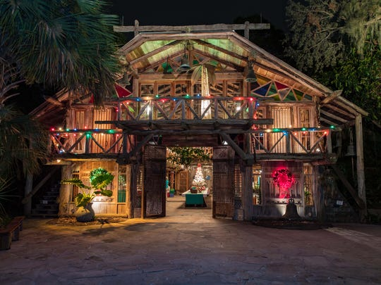 """The Grand Hall is decorated for the holidays as part of the """"Nights of Lights"""" at McKee Botanical Garden, which continues Dec.28 toDec.30 from 6p.m. to 7:30 p.m."""