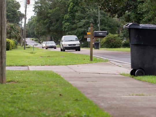 The sidewalk ends on East Burgess Road in Pensacola