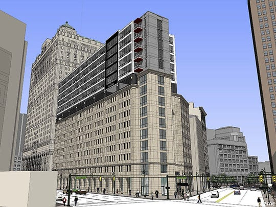 The Griswold is being built atop the parking garage adjacent to the Westin Book Cadillac.