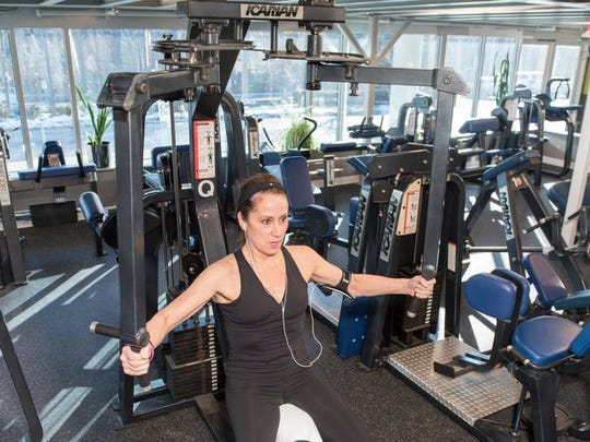 Colleen Piano works out at Eastpointe Health & Fitness in Atlantic Highlands.
